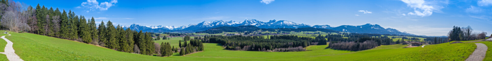 Wanderweg durch das Allgäu mit Blick auf die Alpen - hochauflösendes Panorama Wall mural