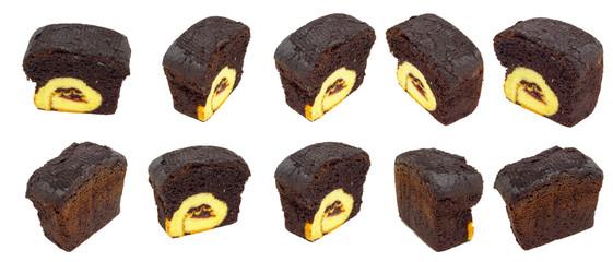 slice of chocolate cake isolated on white background.