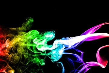 Abstract colorful smoke on black background, smoke background,colorful ink background,rainbow Blue,beautiful color smoke
