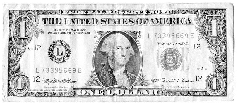 George Washington  on one USA dollar bill obverse