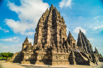 Zelfklevend Fotobehang Indonesië Prambanan or Candi Rara Jonggrang is a Hindu temple compound in Java, Indonesia, dedicated to the Trimurti: the Creator (Brahma), the Preserver (Vishnu) and the Destroyer (Shiva)