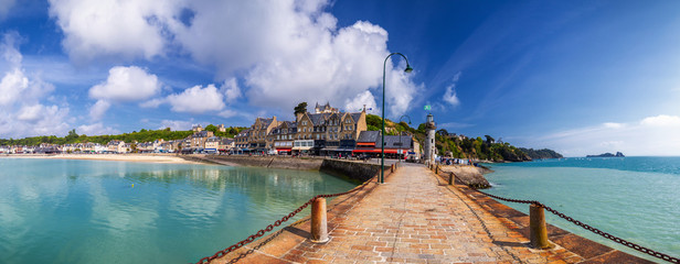 Panoramic view of Cancale, located on the coast of the Atlantic Ocean on the Baie du Mont Saint Michel, in the Brittany region of Western France Wall mural