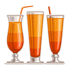 Vector set of layered Orange Cocktail: 3 shiny glasses with alcohol cocktail tequila sunrise, drink sex on the beach, fresh orange juice with pulp, cold cocktail alabama slammer with straw on white.
