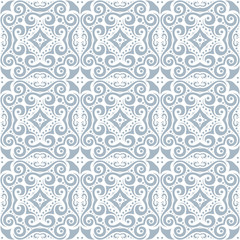 Seamless pattern in Oriental style. Ornament of many elements. Pastel colors.