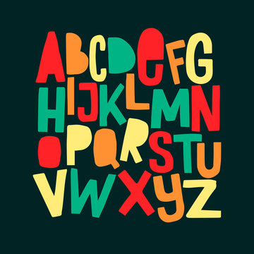 Cartoon funny comics font. Hand drawn colorful letters.