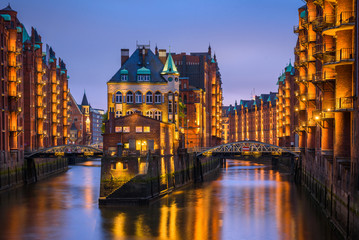 Speicherstadt Hamburg at night