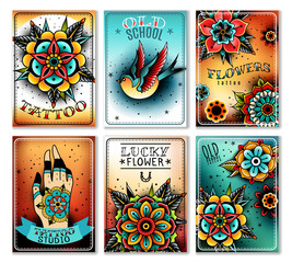 Old school tattoo cards