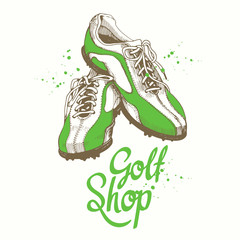 Golf shoes. Vector set of hand-drawn sports equipment. Illustration in sketch style on white background. Brush calligraphy elements for your design. Handwritten ink lettering.
