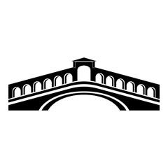 Obraz Rialto bridge icon, simple black style - fototapety do salonu