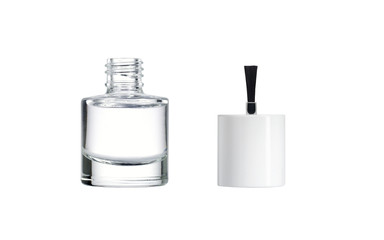 Bottle of clear nail polish with brush.