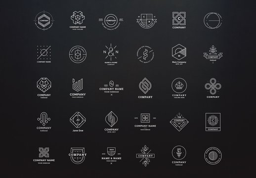 Clean and Modern Line Art Logos Set