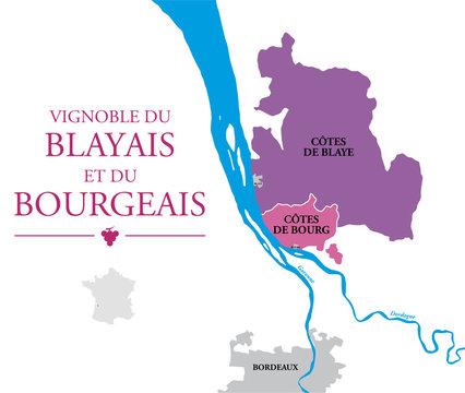Carte Vignoble Côte de Blaye et Côtes de Bourg
