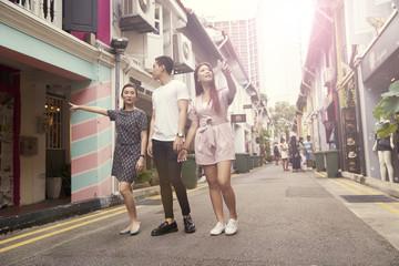 Friends exploring Haji Lane, Singapore
