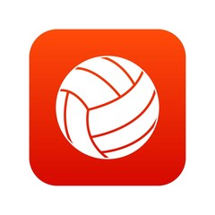 Black volleyball ball icon digital red