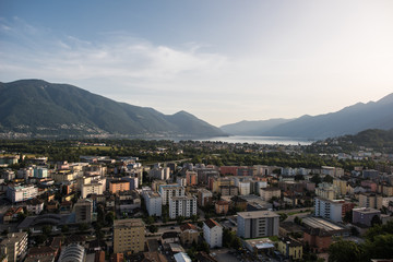 cityscape from hostorical locarno city in golden hour