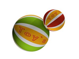 Bälle mit dem Text toy's in grün-gelb und rot-gelb
