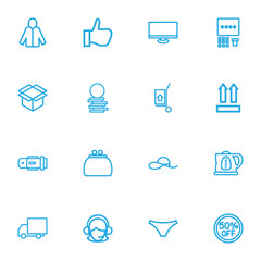 Set Of 16 Editable Shopping Outline Icons. Includes Symbols Such As Thumb Up, Belt, Hand Cart. Can Be Used For Web, Mobile, UI And Infographic Design.