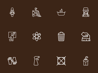 Set Of 12 Editable Cleaning Outline Icons. Includes Symbols Such As Spray, Flooring, Hotel Staff And More. Can Be Used For Web, Mobile, UI And Infographic Design.