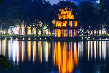 turte tower reflecting in the water at night, Hanoi, Vietnam Wall mural