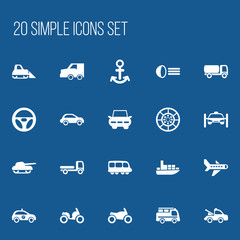 Set Of 20 Editable Transportation Icons. Includes Symbols Such As City Drive, Sheriff, Motorbike And More. Can Be Used For Web, Mobile, UI And Infographic Design.