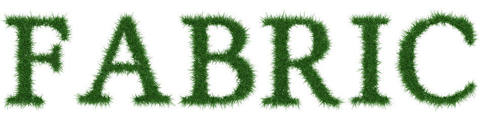 Fabric - 3D rendering fresh Grass letters isolated on whhite background.