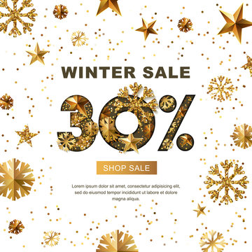 Winter sale 30 percent off, vector banner with 3d gold stars and snowflakes. Paper cut style 30% discount, golden white background. Layout for holiday poster, labels, flyers and shopping.