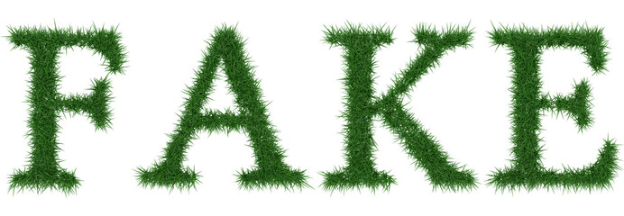 Fake - 3D rendering fresh Grass letters isolated on whhite background.