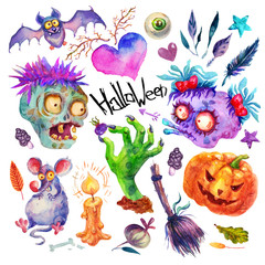 Cute Watercolor set halloween party. Monster, heart, feather, eye, bat, zombie,hand, mouse, broom, berry, pumpkin,leaves illustrations isolated on white background. Perfect for Happy Halloween holiday