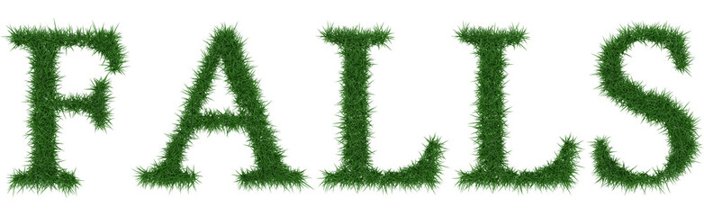 Falls - 3D rendering fresh Grass letters isolated on whhite background.