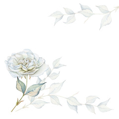 Hand drawn watercolor floral arrangement with roses and branches