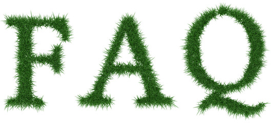 Faq - 3D rendering fresh Grass letters isolated on whhite background.