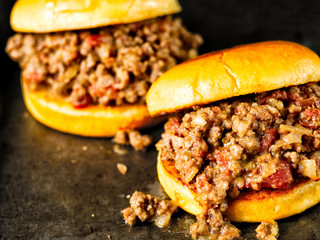 rustic american sloppy joe burger