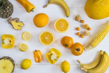 Yellow fruit and veg selection