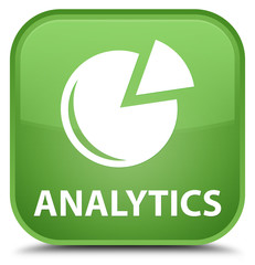 Analytics (graph icon) special soft green square button