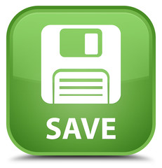 Save (floppy disk icon) special soft green square button