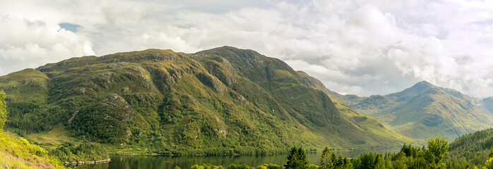 View of Glenfinnan in Highlands mountains in Scotland