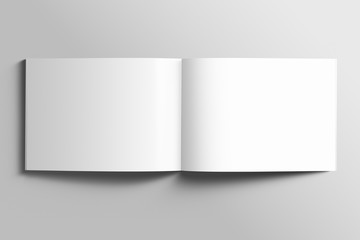 Blank A4 photorealistic landscape brochure mockup on light grey background.  Wall mural