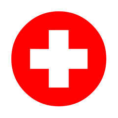 Medical white cross symbol in a red circle
