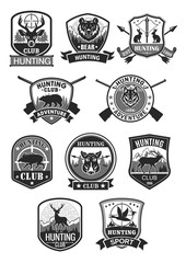 Hunting club hunt adventure vector icons set