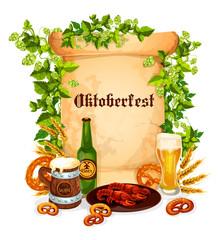 Oktoberfest vector poster of beer snacks