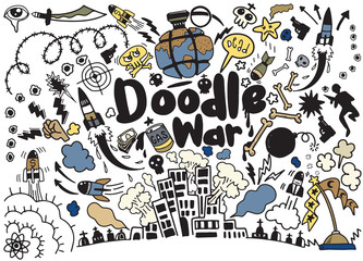 Hand drawing Doodle War collection,Vector illustration.