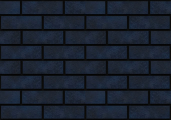 3d redndering. seamless luxury dark blue bricks wall background