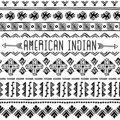 Set of Native American seamless borders. Geometric ornament. Tribal background texture. Vector boho illustration