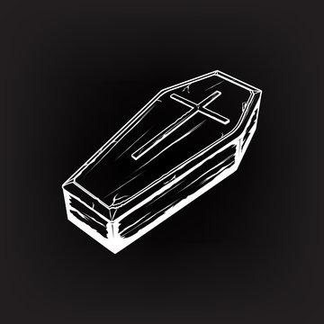 coffin with cross symbol, casket vector illustration