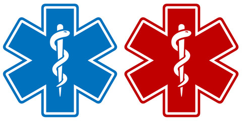Vector illustration of a medical star symbol in two color variations: blue and red. Wall mural