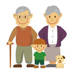 Family illustration (image) / grandparents and grandson