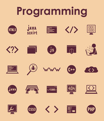 Set of programming simple icons
