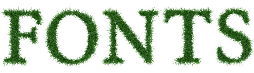 Fonts - 3D rendering fresh Grass letters isolated on whhite background.