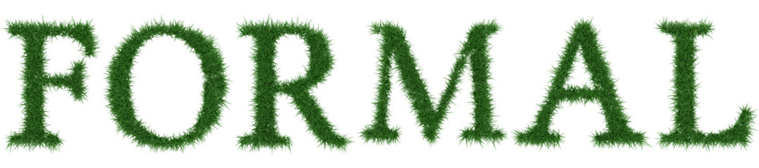 Formal - 3D rendering fresh Grass letters isolated on whhite background.