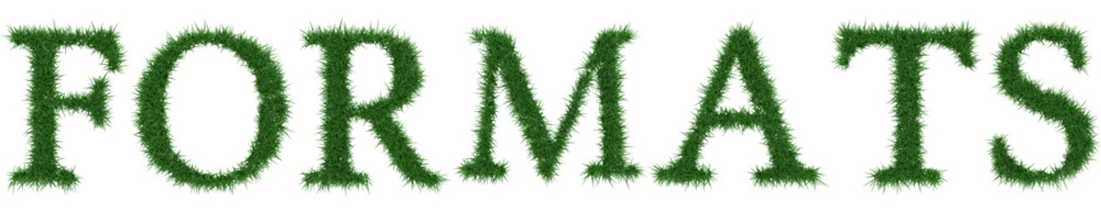 Formats - 3D rendering fresh Grass letters isolated on whhite background.